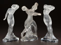 Art Glass:Lalique, THREE LALIQUE CLEAR AND FROSTED GLASS STATUETTES. Post 1945. Allengraved Lalique France. Ht. 10-1/8 in. (largest). ...(Total: 3 Items)