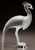 Art Glass:Lalique, LALIQUE CLEAR AND FROSTED GLASS PEACOCK STATUETTE. Post 1945.Engraved Lalique, France. Ht. 14 in.. ...