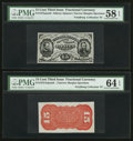 Fractional Currency:Third Issue, Fr. 1275SP 15¢ Third Issue Pair PMG Choice Uncirculated 64 EPQ & Choice About Unc 58 EPQ.. ... (Total: 2 notes)