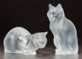 Art Glass:Lalique, PAIR OF LALIQUE FROSTED GLASS CATS. Post 1945. Both engravedLalique, France. Ht. 8-1/4 in. (sitting cat). ... (Total: 2Items)