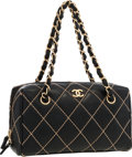 "Luxury Accessories:Bags, Chanel Black Lambskin Leather Quilted Bowling Bag . Very Good toExcellent Condition . 9.5"" Width x 7"" Height x 4"" Dep..."