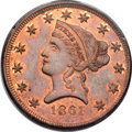 1861 $10 Clark, Gruber $10 Copper Die Trial PR64 Red and Brown PCGS. K-11b, R.7....(PCGS# 10164)