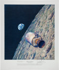 "Explorers:Space Exploration, Alan Bean Signed Limited Edition ""Homeward Bound"" Print, also Signed by Apollo 8 Astronauts Frank Borman and James Lovell, #39..."