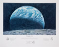 "Explorers:Space Exploration, Alan Bean Signed Limited Edition ""Kissing the Earth"" Print, also Signed by Fellow Apollo 12 Crewmembers Charles Conrad and Ric..."