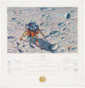 """Explorers:Space Exploration, Alan Bean Signed Limited Edition """"In Flight"""" Print, also Signed by the Apollo 14 Crew, #699/850. ..."""