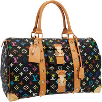 Louis Vuitton Black Monogram Multicolore Canvas Keepall 45 Weekender Bag Very Good to Excellent Condition <
