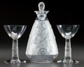 Art Glass:Lalique, EXTREMELY RARE R. LALIQUE SCHLUMBERGER, Circa 1937. Carafe,2 verre a pied.. M p. 735 & 805, No. F & J. Ht. ...(Total: 4 Items)
