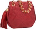 "Luxury Accessories:Bags, Chanel Red Lizard Shoulder Bag with Tassel . Very GoodCondition . 7"" Width x 6"" Height x 2"" Depth . CITEScompl..."