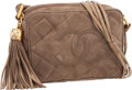 """Luxury Accessories:Bags, Chanel Taupe Quilted Suede Camera Bag with Gold Hardware . Very Good to Excellent Condition . 7"""" Width x 5"""" Height x 2..."""