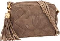 "Chanel Taupe Quilted Suede Camera Bag with Gold Hardware Very Good to Excellent Condition 7"" Wi"
