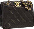 "Luxury Accessories:Bags, Chanel Black Quilted Lambskin Leather Shoulder Bag with GoldHardware . Very Good Condition . 11"" Width x 9"" Height x..."
