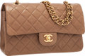 "Luxury Accessories:Bags, Chanel Tan Quilted Lambskin Leather Medium Double Flap Bag withGold Hardware. Very Good Condition . 10"" Width x 6""He..."