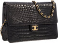 """Luxury Accessories:Bags, Chanel Black Crocodile Shoulder Bag with Gold Hardware . Very Good Condition . 9.5"""" Width x 7"""" Height x 2"""" Depth . ..."""