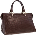 """Luxury Accessories:Bags, Bulgari Brown Crocodile Weekender Bag with Gold Hardware. Very Good to Excellent Condition. 17"""" Width x 10.5"""" Height x..."""
