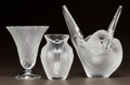 Art Glass:Lalique, THREE LALIQUE CLEAR AND FROSTED GLASS VASES. Post 1945. All engraved Lalique, France. Ht. 8 in. (Sylvie). ... (Total: 3 Items)