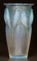 Art Glass:Lalique, R. LALIQUE OPALESCENT GLASS CEYLAN VASE WITH BLUE PATINA.Circa 1924. Wheel-cut R. LALIQUE, FRANCE and engraved...