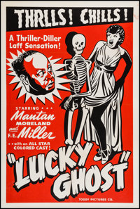 """Lucky Ghost (Toddy Pictures, R-1948). One Sheet (28"""" X 41.5"""") AKA Lady Luck. Black Films"""