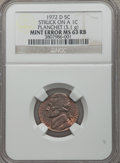 Errors, 1972-D 5C Jefferson Nickel -- Struck on a 1C Planchet (3.1g) -- MS63 Red and Brown NGC....