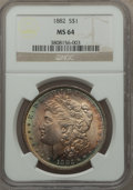 Morgan Dollars: , 1882 $1 MS64 NGC. NGC Census: (6583/1441). PCGS Population (5246/1622). Mintage: 11,101,100. Numismedia Wsl. Price for prob...