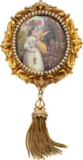 Estate Jewelry:Brooches - Pins, Victorian Painted Porcelain, Gold Brooch. ...