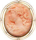 Estate Jewelry:Brooches - Pins, Antique Coral Cameo, Seed Pearl, Gold Pendant-Brooch. ...