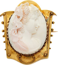 Victorian Coral Cameo, Gold Brooch