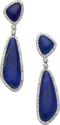 Lapis Lazuli, Diamond, White Gold Earrings, Eli Frei