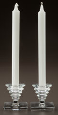 Art Glass:Lalique, A PAIR OF R. LALIQUE SQUARE ROSHEIM CANDLESTICK, Circa 1930. M p. 608, No. 2106. Ht. 2-3/4 in.. ... (Total: 2 Items)
