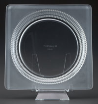 R. LALIQUE CLEAR AND FROSTED SQUARE PLATE, circa 1930 6 inches long