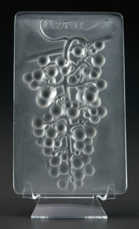 R. LALIQUE RAISIN CHASSELAS MENU, Circa 1924 M p. 780, No. 3476. Ht. 5