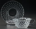 Art Glass:Lalique, R. LALIQUE BLACK ENAMEL CACTUS, Circa 1933. Cup and saucer..M p. 819, No 3906, 3907. Di. 5-1/8 in. (saucer)... (Total: 2Items)