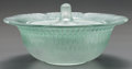 Art Glass:Lalique, R. LALIQUE GÂTINAS CONFITURIER WITH GREEN PATINA, Circa1928. M p. 814, No. 3884. Ht. 4-1/2 in.. ... (Total: 2Items)