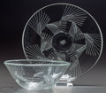Art Glass:Lalique, R. LALIQUE ARRAS, Circa 1943 . Bowl and underplate.. M p.724 & 766, No. 10-3024 & 3324. Ht. 2-3/4 in. (Bowl...(Total: 2 Items)