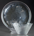 Art Glass:Lalique, R. LALIQUE LOTUS, Circa 1923. Bowl with black enamel andplate.. M p. 700 & 727, No. 3006 & 3103. Di. 7-1/8... (Total: 2 Items)