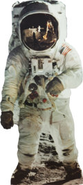 "Explorers:Space Exploration, Buzz Aldrin Life Size Cardboard Standup of the Famous ""Visor"" Image, Originally from His Personal Collection...."