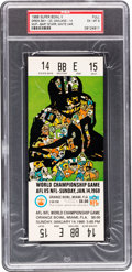 Football Collectibles:Tickets, 1968 Super Bowl II Full Ticket PSA EX-MT 6 - White Variation....