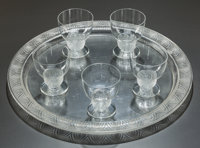 R. LALIQUE CLEAR AND FROSTED GLASS PADOUE PART COCKTAIL SERVICE, designed 1930 13