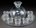 Art Glass:Lalique, R. LALIQUE BLACK ENAMEL COQUELICOT PORT WINE SERVICE,Circa 1930. Carafe, 7 goblets, 1 clear glass r... (Total: 10 Items)