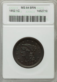1852 1C MS64 Brown ANACS. NGC Census: (154/174). PCGS Population (179/119). Mintage: 5,063,094. Numismedia Wsl. Price fo...