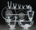 Glass, R. LALIQUE NIPPON PART SERVICE, Circa 1930. 2 carafes, 2 orangeade brocs, 1 orangeade glass, 1 water stem, 1 bor... (Total: 25 Items)
