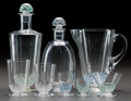 Art Glass:Lalique, R. LALIQUE POUILLY PART SERVICE, Circa 1931. Carafewith green patina, carafe a' porto with blue pat... (Total: 15Items)