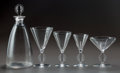 Glass, R. LALIQUE MULHOUSE PART SERVICE, Circa 1926. Carafe, 1 water stem, 2 bordeaux stems, 1 madere stem,... (Total: 8 Items)
