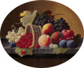 Paintings, SEVERIN ROESEN (German/American, 1805-1882). Still Life with Peaches, Grapes and Basket of Strawberries. Oil on canvas. ...
