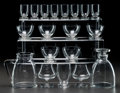 Glass, R. LALIQUE LILLE PART SERVICE, Circa 1938. Carafe, broc, 1 water stem, 6 champagne stems, 8 madere s... (Total: 20 Items)