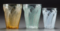 Art Glass:Lalique, THREE R. LALIQUE HESPÉRIDES NO. 1 TUMBLERS, Circa 1931.Clear glass tumbler with green patina, yellow glass tumb... (Total:3 Items)