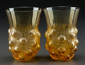 Art Glass:Lalique, A PAIR OF R. LALIQUE AMBER SÉTUBAL GOBLETS, Circa 1931. Mp. 770, No. 3414. Ht. 4-3/4 in.. ... (Total: 2 Items)
