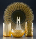 Art Glass:Lalique, R. LALIQUE AMBER BAHIA & JAFFA, Circa 1931.Bahia goblet, Jaffa goblet, plate, and bowl.. ...(Total: 4 Items)