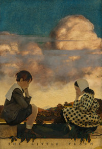MAXFIELD PARRISH (American, 1870-1966) The Little Peach, 1902 Oil on stretched paper 21 x 14-3/4
