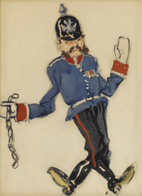 ALEXANDRE NIKOLAEVICH BENOIS (Russian-French 1870-1960) Polonaise Militaire Watercolor and gouache