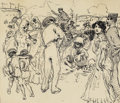 Fine Art - Painting, American:Modern  (1900 1949)  , FRANCIS LUIS MORA (American 1874-1940). Sunday Promenade inSpain. Ink on paper. 7-1/2 x 8-1/2 inches (19.1 x 21.6 cm). ...